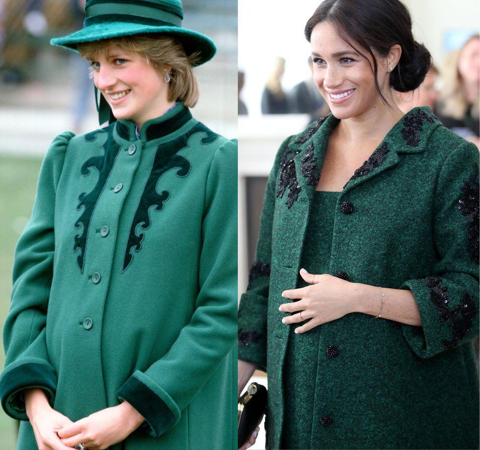 綠色長外套。  1982年,戴安娜王妃穿著過一套有深綠色花紋的綠色外套。梅根王妃在2019年3月的國慶典禮上,穿著有黑色花紋的深綠毛大衣,設計十分相似。