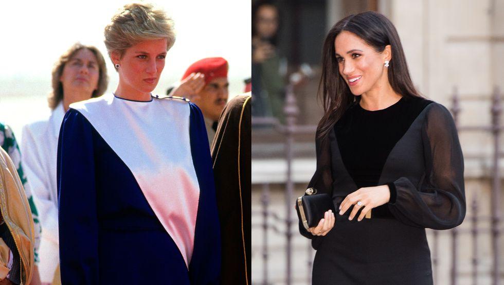 三角形圖案連身裙。  戴安娜王妃在1986年訪問沙特阿拉伯時,穿著這件海軍藍和白色倒三角形連衣裙。 梅根在訂婚以後首次出席王室公開活動時,也穿著有倒三角圖案的黑色連身裙參加藝術展的開幕。