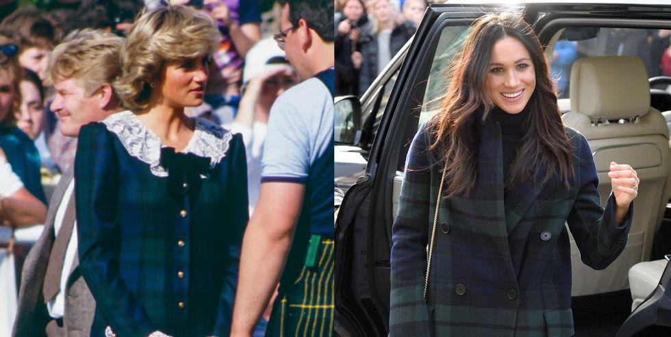 藍綠和色格紋外套。  戴安娜參觀蘇格蘭運動比賽時,身穿領口有蕾絲拼接的藍綠色格紋外套。梅根在參觀蘇格蘭的愛丁堡城堡時,也穿著一件綠色和藍色格紋外套。